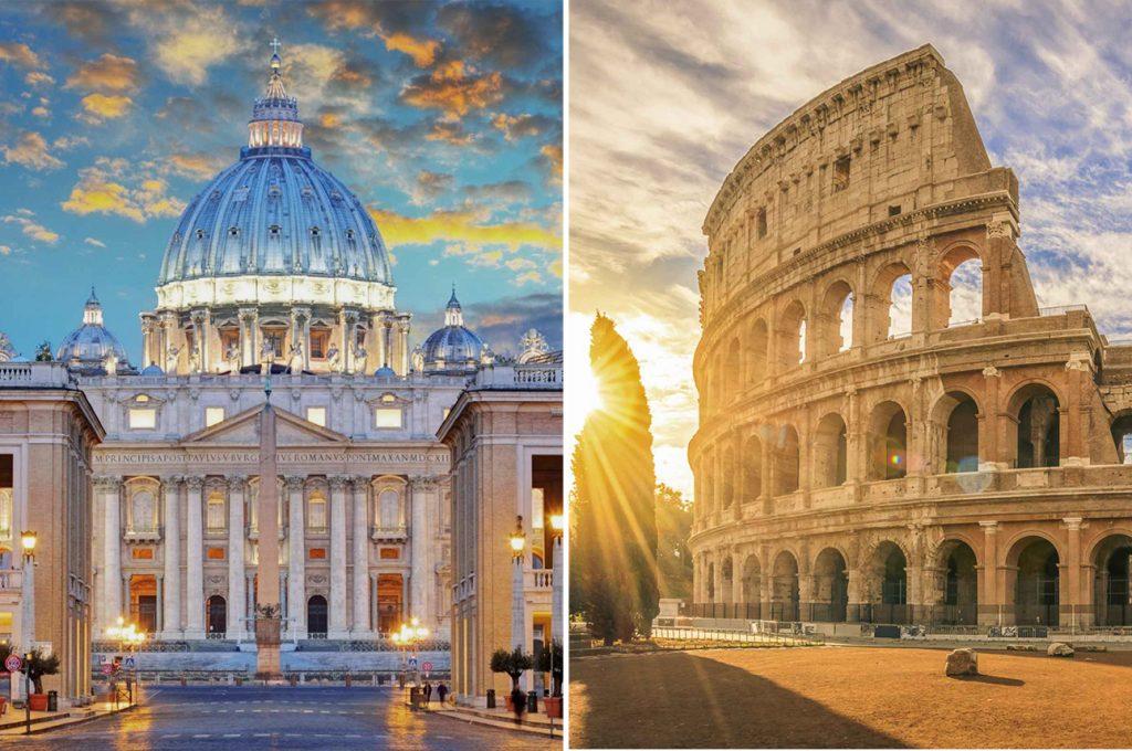 Petersdom und Kolosseum in Rom